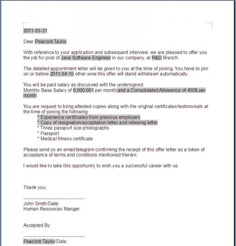 Offer Letter Sample  Template Business