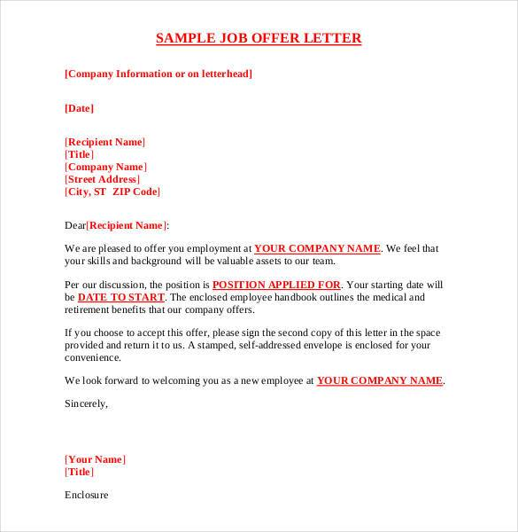 Delightful Offer Letter Sample