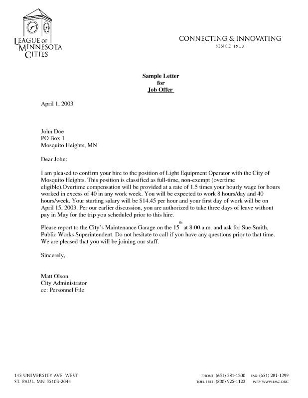 Offer Letter Template Template Business