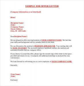 offer of employment letter sample job offer letter pdf format