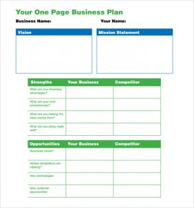 one page business plan pdf one page business plan pdf