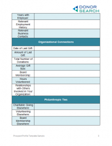 one page marketing plan donorsearch sample prospect profile template page