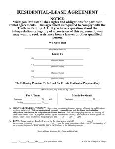one page rental agreement residential lease agreement