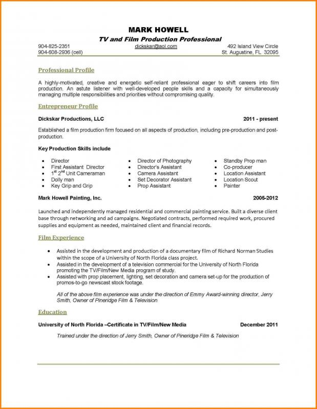 Beau One Page Resume Examples