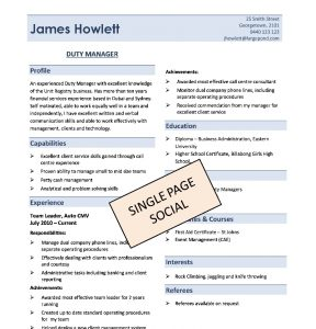 One Page Resume Template One Page Resume Template Oletb  Single Page Resume