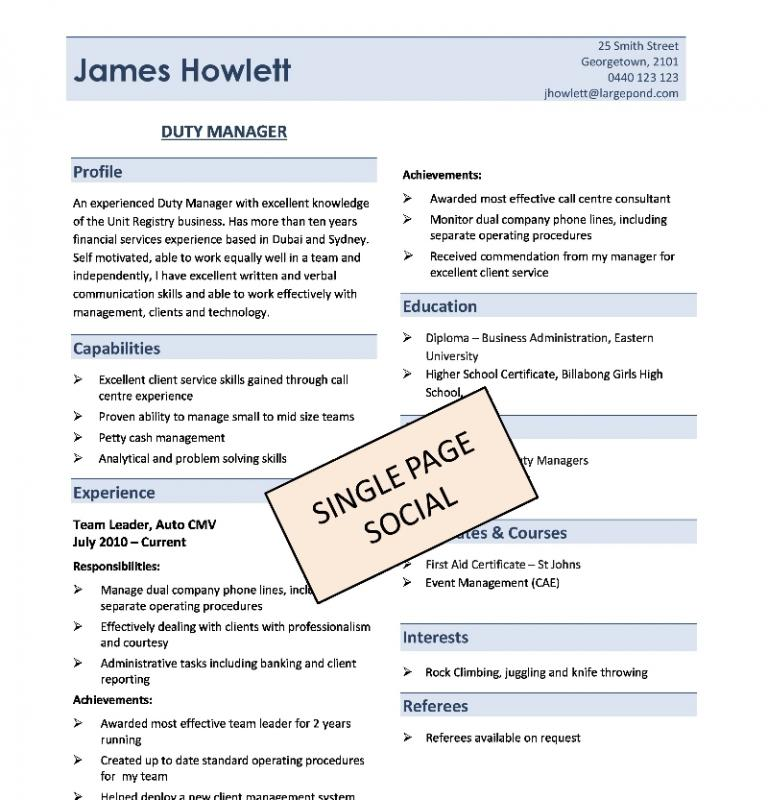 One Page Resume Template  1 Page Resume
