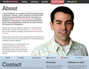 one page website template about david desandro