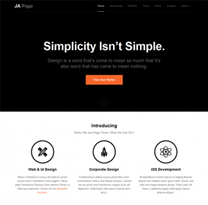 one page website template jaonepage