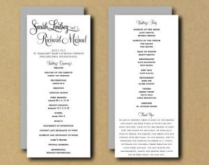 one page wedding program template il xn bhta