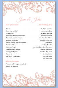 one page wedding program template one page wedding program