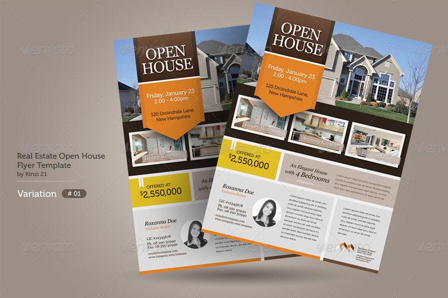 Open house flyers template business for Open house brochure template