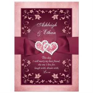 open house flyers rectangle burgundy rose gold floral double hearts wedding invitation