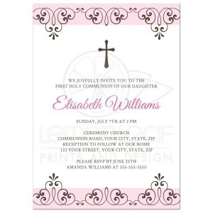 open house invitation template rectangle front pale pink and brown ornate first holy communion invitation for girls with damask lace pattern and cross