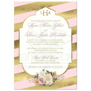 open house invitation template rectangle blushpinkgoldstriped