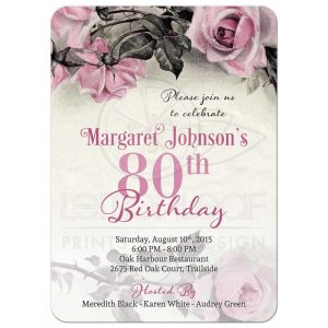 open house invitation templates roundedrectangle pink grey silver roses th birthday invitation front