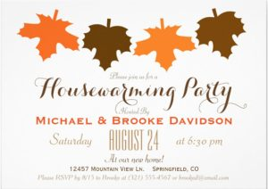 open house invitations templates orange brown fall leaves housewarming party x paper invitation card