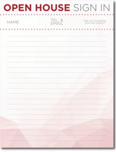 open house sign in sheet printable crop signin red