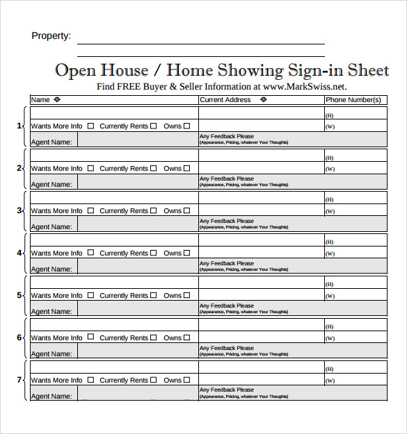 Open House Sign In Sheet Template  Free Sign In Sheet