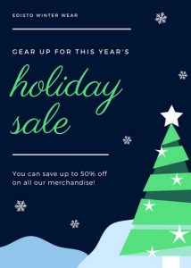 open house template canva dark blue and green christmas holiday flyer machjuno