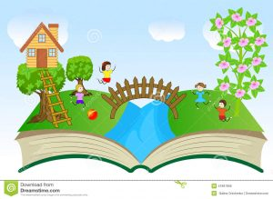 open house template open book children summer landscape vector illustration