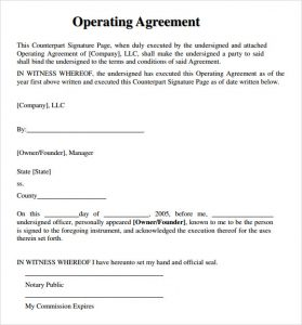 operating agreement example llc operating agreement template download