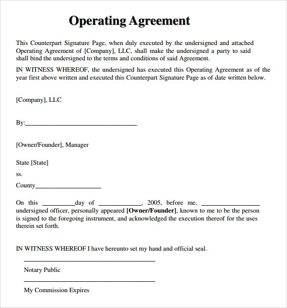operating agreement example