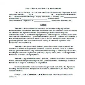 operating agreement sample subcontractor agreement for service