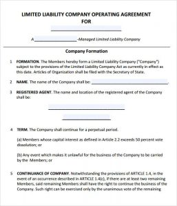 operating agreement samples llc operating agreement template