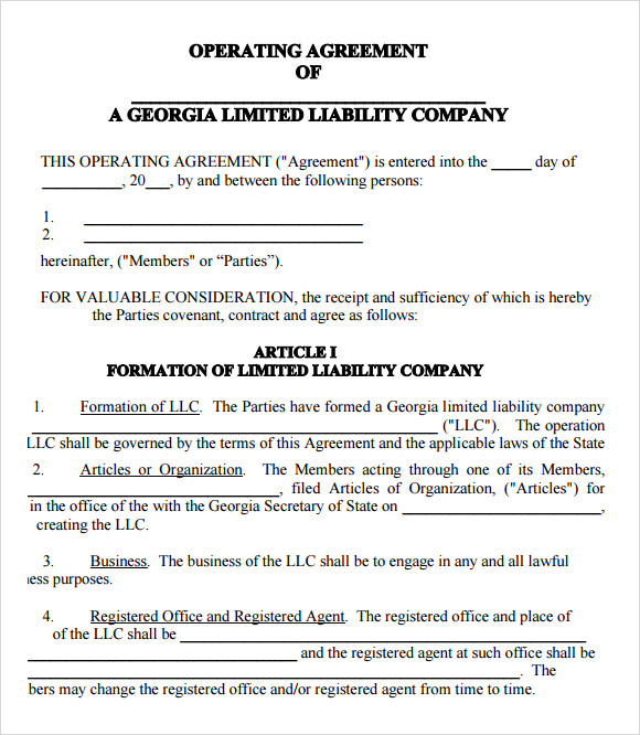 operating agreement samples