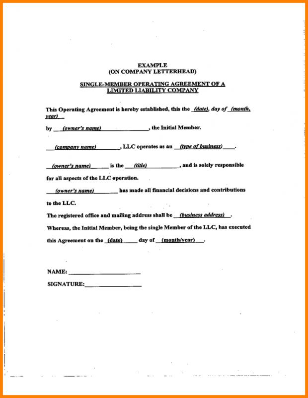 operating agreement template free - operating agreement samples template business