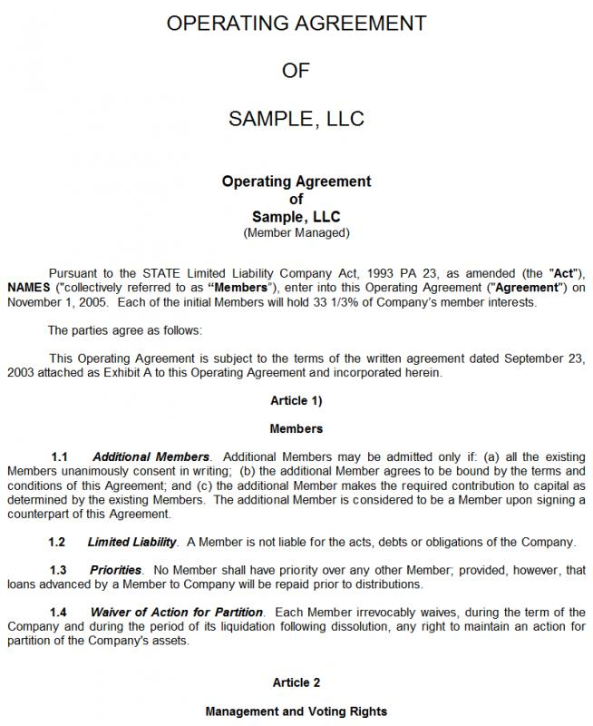 Sample Llc Agreement Make Your Llc Operating Agreement Rocket