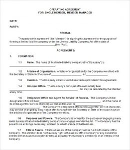 operating agreement samples single member llc operating agreement template free