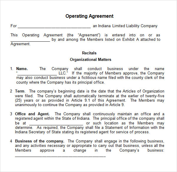 Operating Agreement Template  Template Business