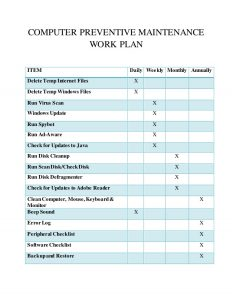 operating budget template computer maintenance work plan