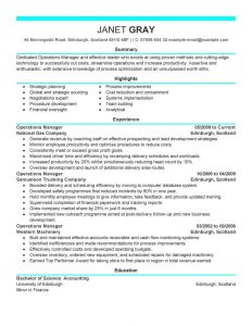 operation manager resume operations manager management modern