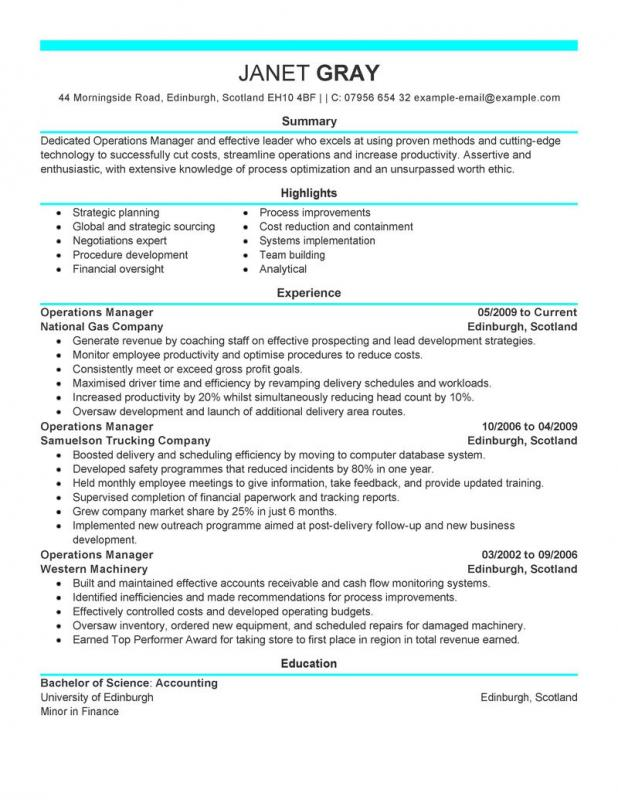 operation manager resume