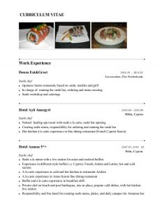 operation manager resume sushi chef presentasjon