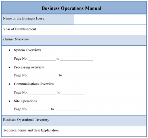 operation manual templates business operations manual template