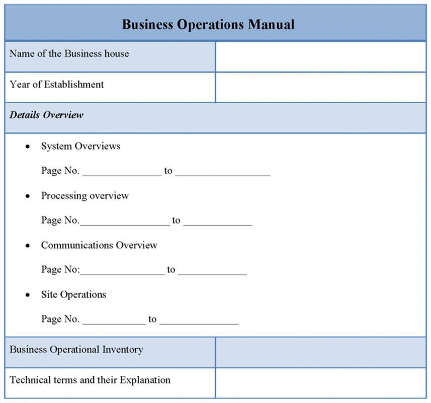 Operational Manual Template  Template Business