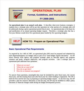 operational plan examples prepare an operational plan template