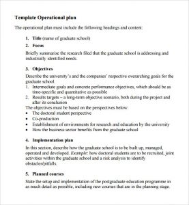 operational plan examples project operational plan template