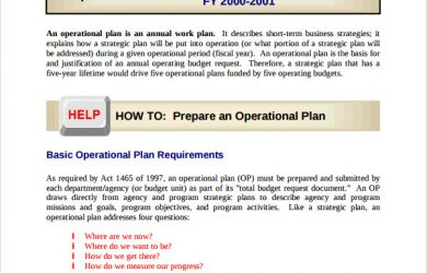 operational plan template prepare an operational plan template