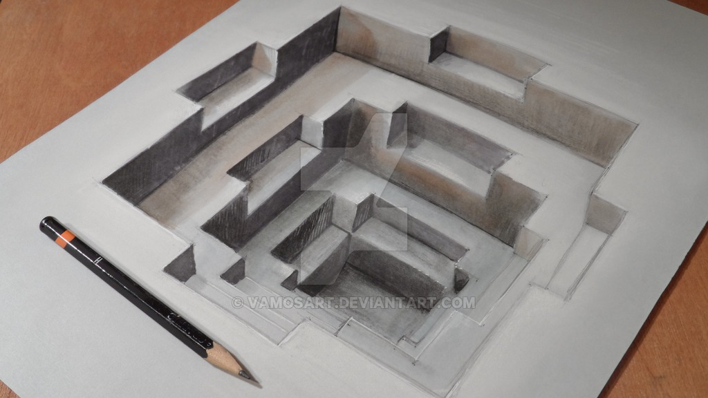 optical illusion drawings illusions hole 3d designstack template