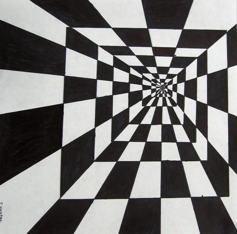 There are many types of optical illusions to recreate with fabric Take a look at the Wikipedia page on Optical Illusions to start exploring ideas