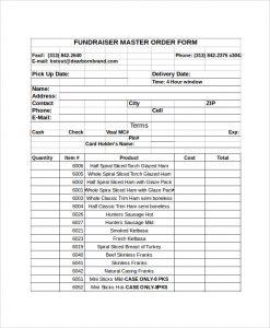 order form template excel fundraiser order form template excel