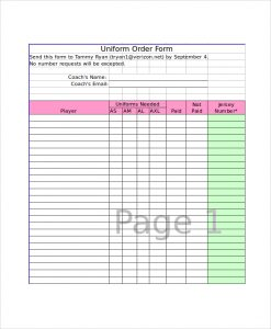 order form template excel uniform order form template excel