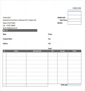 order form template simple order form template
