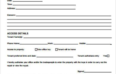 order form template word tenant maintenance request form