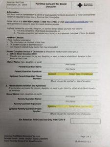 parental consent form photo