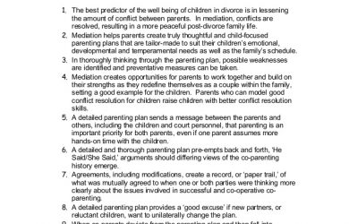 parenting plan examples top ten reasons to use parenting plan mediation in divorce